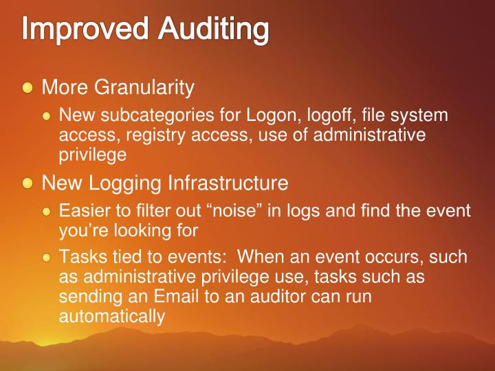 Improved Auditing