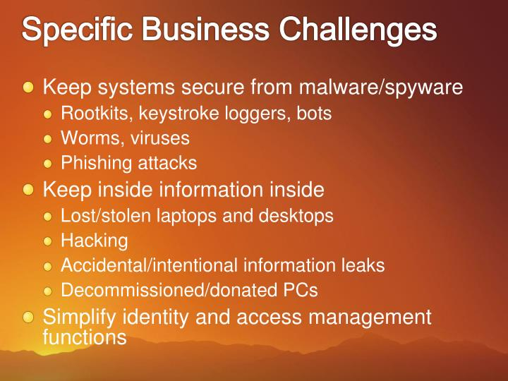 Specific Business Challenges