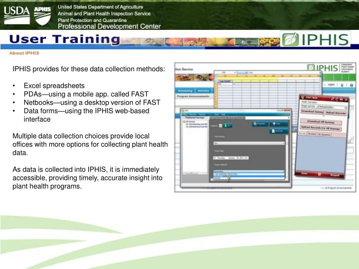 IPHIS provides for these data collection methods: