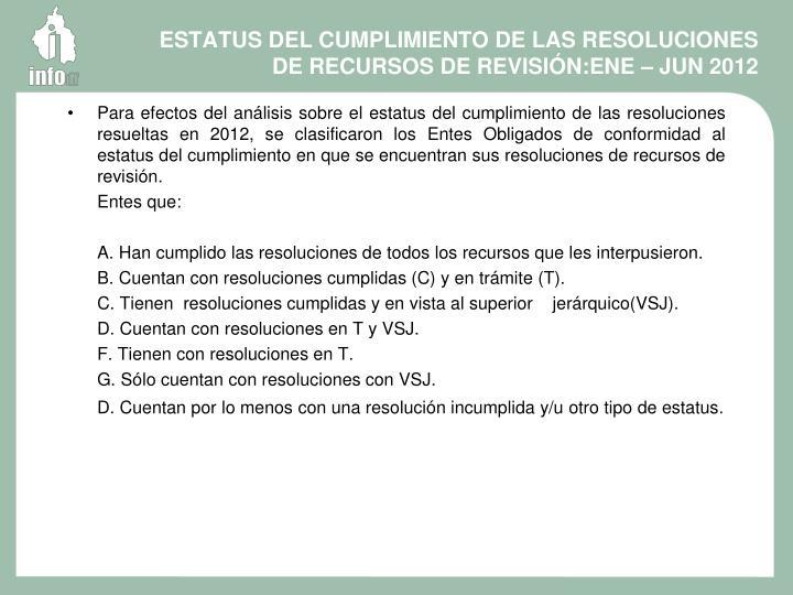 ESTATUS DEL CUMPLIMIENTO DE LAS RESOLUCIONES