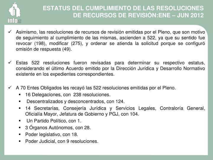 ESTATUS DEL CUMPLIMIENTO DE LAS RESOLUCIONES DE RECURSOS DE REVISIÓN:ENE – JUN 2012