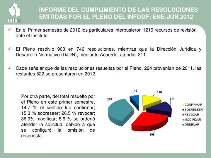 INFORME DEL CUMPLIMIENTO DE LAS RESOLUCIONES EMITIDAS POR EL PLENO DEL INFODF: ENE-JUN 2012