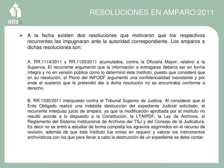 RESOLUCIONES EN AMPARO:2011