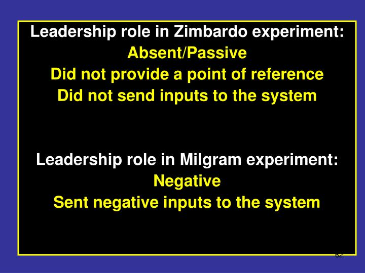 Leadership role in Zimbardo experiment:
