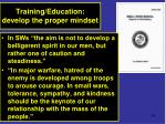 training education develop the proper mindset