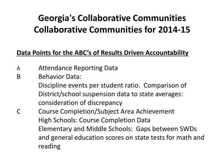 Georgia's Collaborative Communities