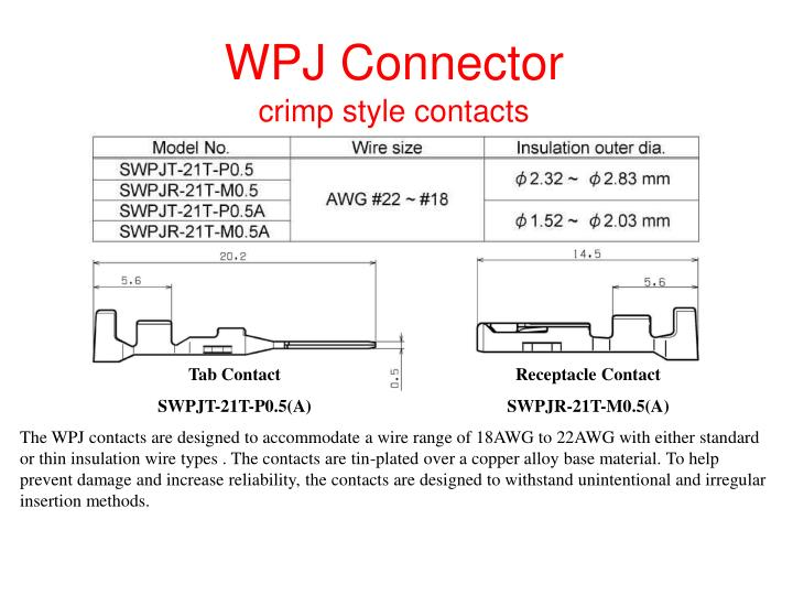 Wpj connector crimp style contacts