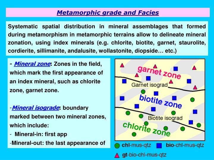 Metamorphic grade and Facies