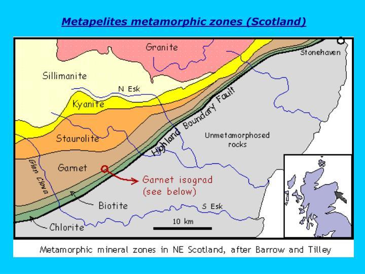 Metapelites metamorphic zones (Scotland)