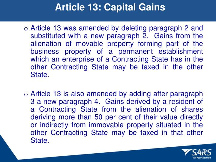 Article 13: Capital Gains