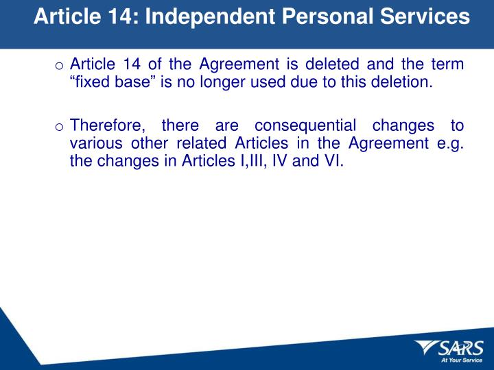 Article 14: Independent Personal Services