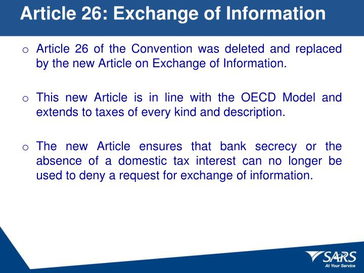 Article 26: Exchange of Information