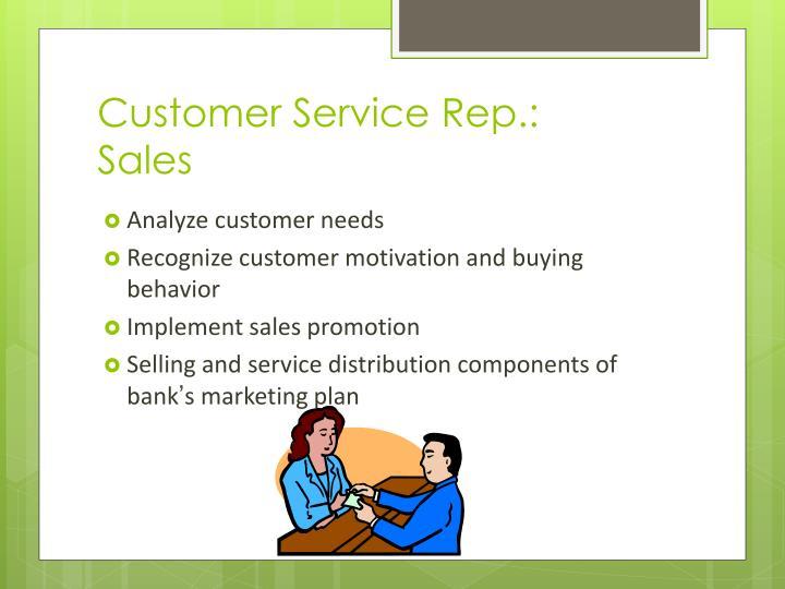Customer Service Rep.: