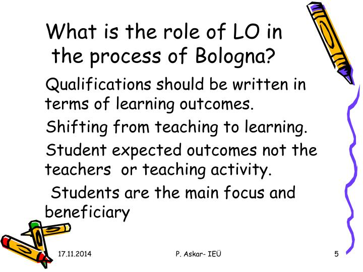 What is the role of LO in the process of Bologna?