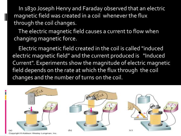 In 1830 Joseph Henry and Faraday observed that an electric magnetic field