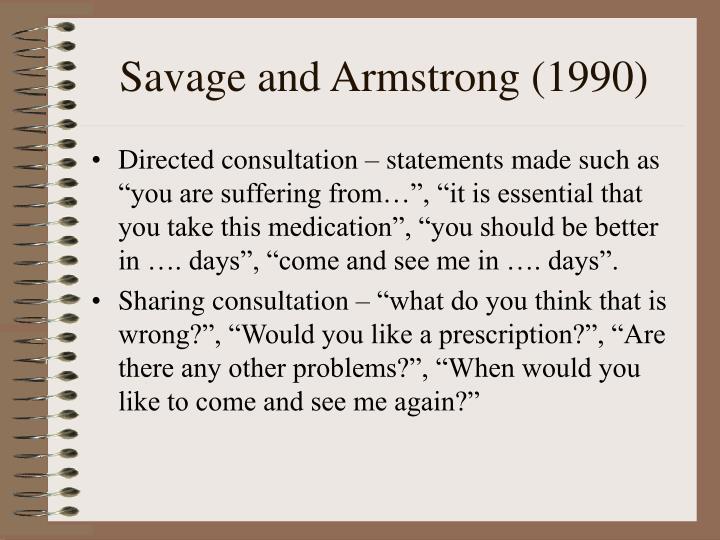 Savage and Armstrong (1990)