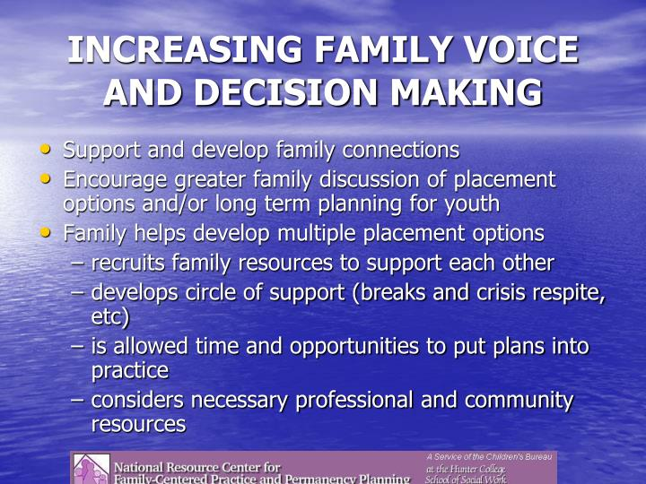 INCREASING FAMILY VOICE