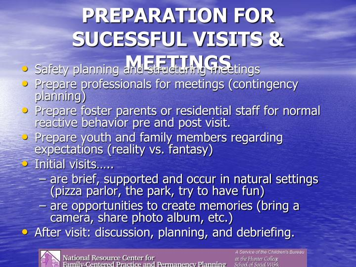PREPARATION FOR SUCESSFUL VISITS & MEETINGS