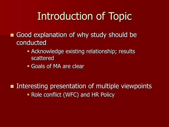 Introduction of Topic