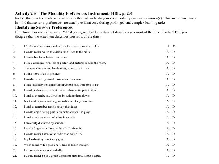 Activity 2.5 – The Modality Preferences Instrument (HBL, p. 23)
