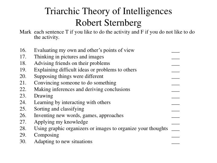 Triarchic Theory of Intelligences