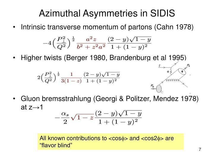 Azimuthal Asymmetries in SIDIS