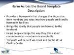 harm across the board template description