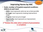 improving harms by hac