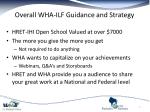 overall wha ilf guidance and strategy