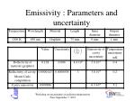 emissivity parameters and uncertainty