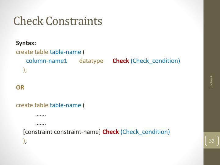 Check Constraints