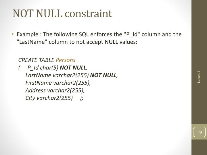 NOT NULL constraint
