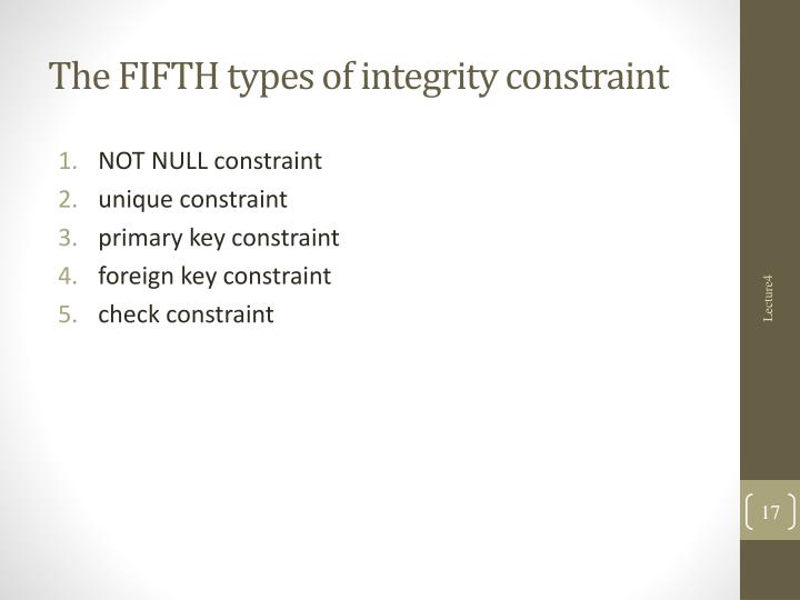 The FIFTH types of integrity constraint