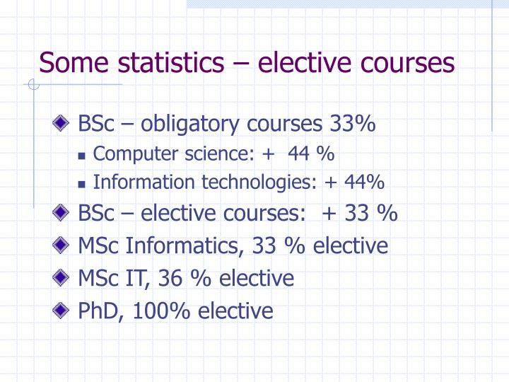 Some statistics – elective courses