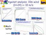 against analysis 10m wind h 24 10 m s