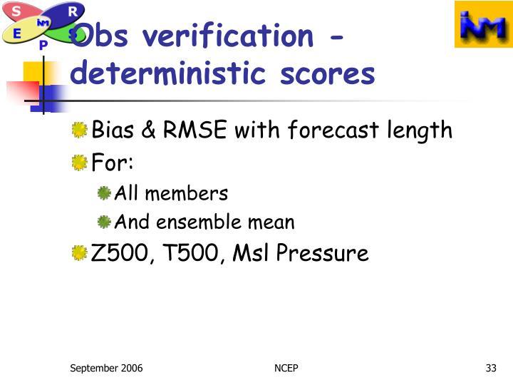 Obs verification -deterministic scores