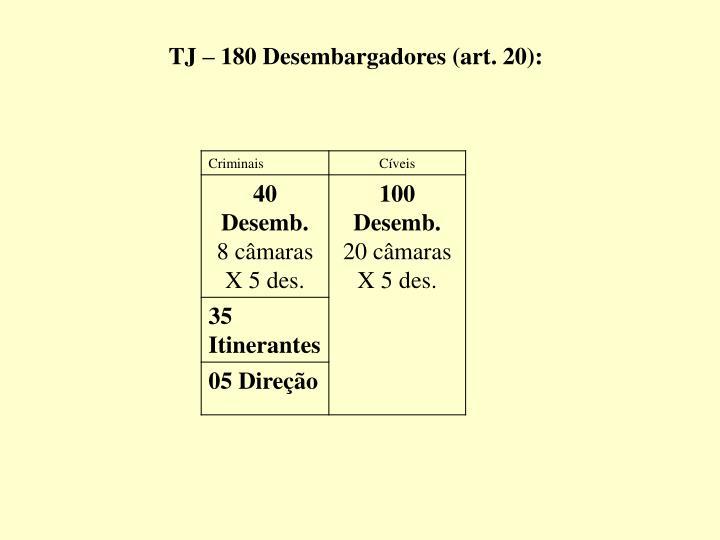 TJ – 180 Desembargadores (art. 20):