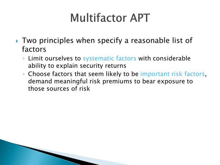Two principles when specify a reasonable list of factors