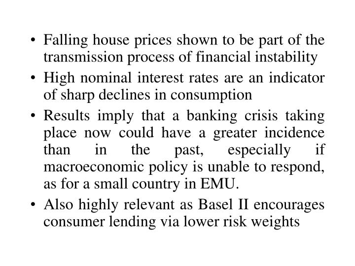 Falling house prices shown to be part of the transmission process of financial instability