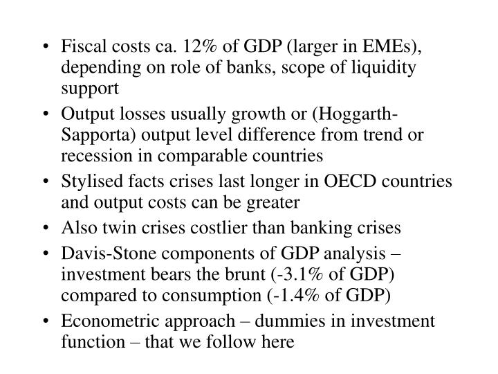 Fiscal costs ca. 12% of GDP (larger in EMEs), depending on role of banks, scope of liquidity support