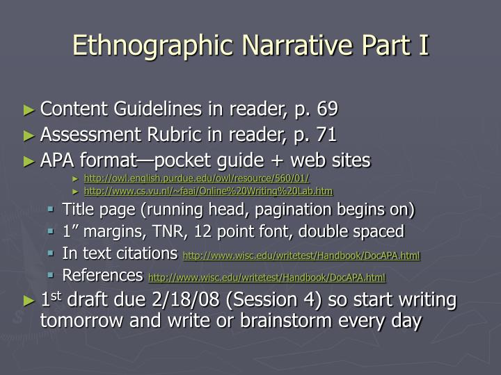 Ethnographic Narrative Part I