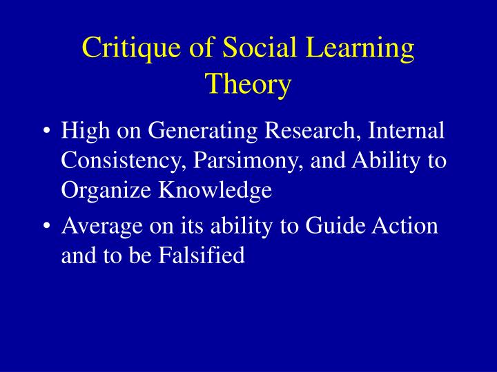 Critique of Social Learning Theory