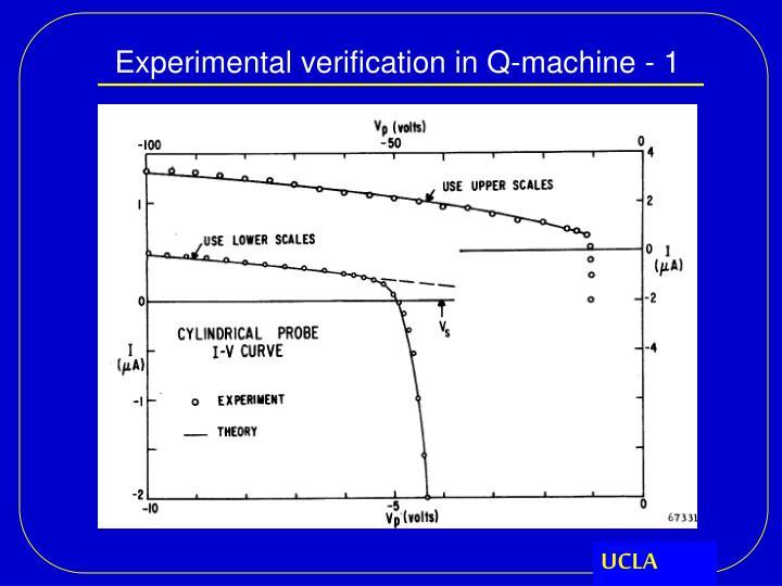 Experimental verification in Q-machine - 1