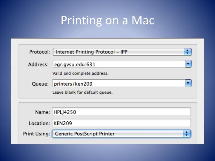 Printing on a Mac
