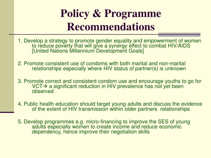 Policy & Programme Recommendations