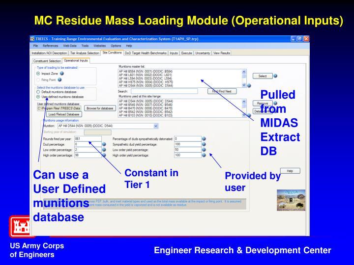MC Residue Mass Loading Module (Operational Inputs)
