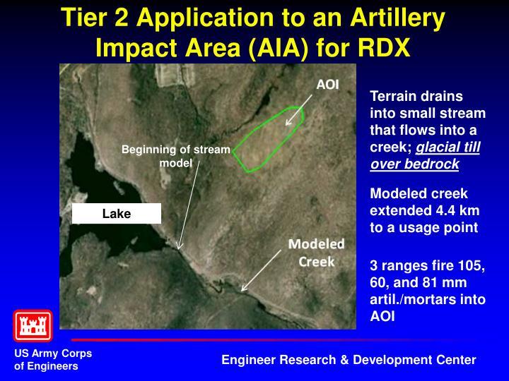 Tier 2 Application to an Artillery Impact Area (AIA) for RDX