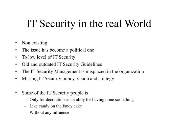 IT Security in the real World