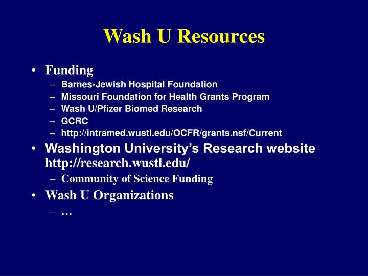 wash u resources