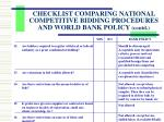 checklist comparing national competitive bidding procedures and world bank policy contd1